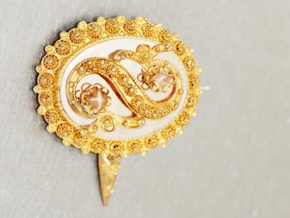 Brosche Gold 585 Goldbrosche 14 kt Gold Feingoldfarbe