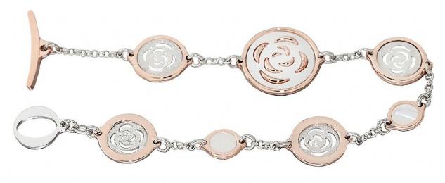 Armband Silber 925 Rotgold Perlmutt Sliberarmband Armkette Damen Rosegold 18, 5cm