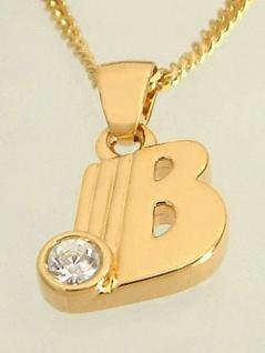 B - Schmuckset - Goldkette pl und Anhänger Buchstabe B mit Panzerkette Gold pl