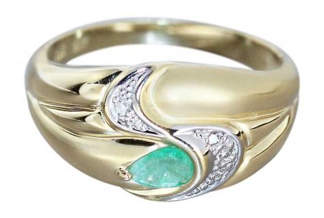 Edler Ring Gold 585 mit Diamant und Smaragd - Goldring - Smaragdring - Damenring