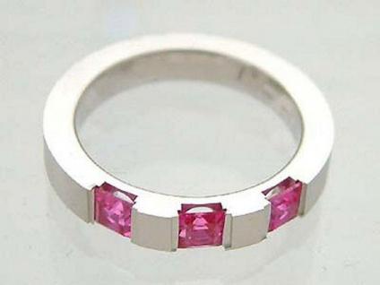 Moderner Silberring 925 mit pink Zirkonia Designer Ring Silber massiv Bandring