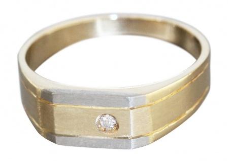 Herrenring Gold 585 bicolor Brillant Goldring 14 Karat massiver Brillantring