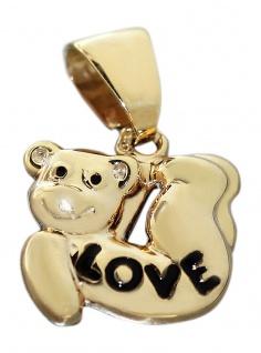 Kleiner Teddybär Anhänger Gold 375 Teddy Love Kettenanhänger 9 Kt. Bärchen