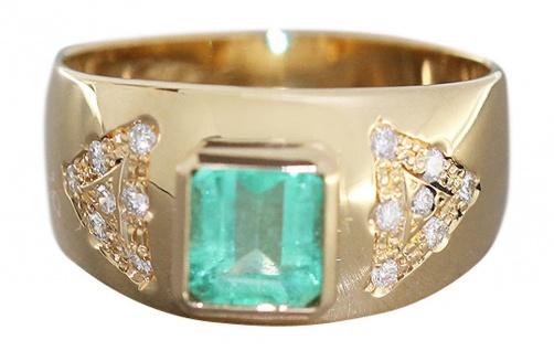 Traumhafter Brillantring mit Smaragd Ring Gold 750 breiter Goldring 18 kt
