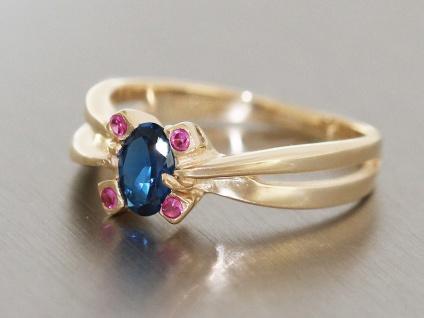 Klassischer Ring Gold 585 Zirkonia in starkem Blau Goldring Damenring 14 kt