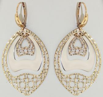 Tolle Ohrhänger Gold 585 - Ohrringe lang und beweglich Goldohrringe bicolor 14kt