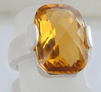 Großer Solitärring Ring Silber 925 mit Zirkonia Goldtopaz Silberring Damenring