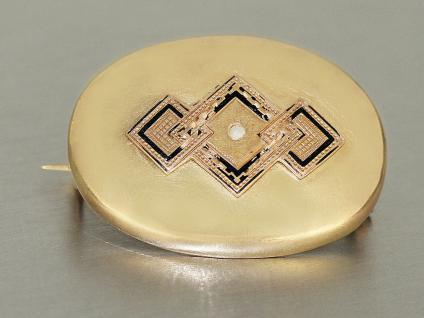 Brosche Gold 585 mit Perle und Email, Fuchskopfpunze Goldbrosche 14 kt