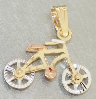 Fahrrad Anhänger Gold 585 Mountainbike beweglich 14 Karat Kettenanhänger