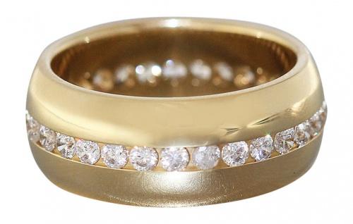 Memory Ring Gold 585 / 14 Karat Breiter Goldring mit Zirkonias Bandring Eternity