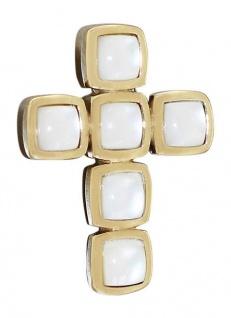 Wunderschönes Kreuz aus Gold 585 mit Perlmutteinlagen Goldkreuz Goldanhänger 14k