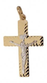 Goldkreuz 585 Anhänger Kreuz mit Korpus Goldanhänger bicolor Kreuzanhänger
