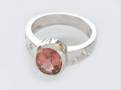 Weißgoldring 585 Pink Turmalin Brillantring 2 ct. Ring Weißgold Goldring 14 kt