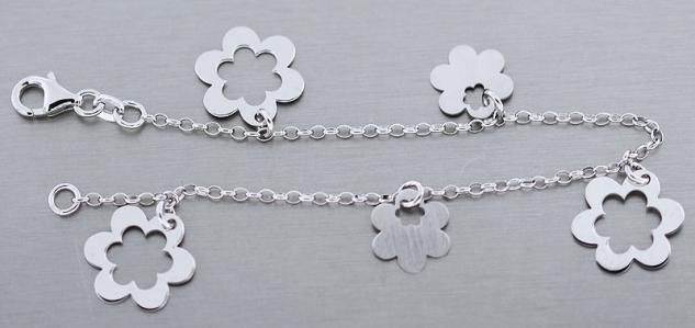 Silberarmband 925 mit Blumen Bettelarmband Armband Silber Blume Armkette