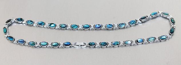 Tolles Collier Halskette m Labradorit Doubletten Damen massive Halskette 44 cm