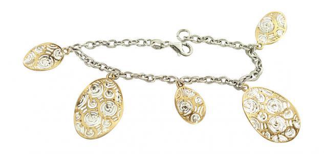 Silberarmband 925 - Bettelarmband - Armband Silber mit Anhängern Gold - Armkette