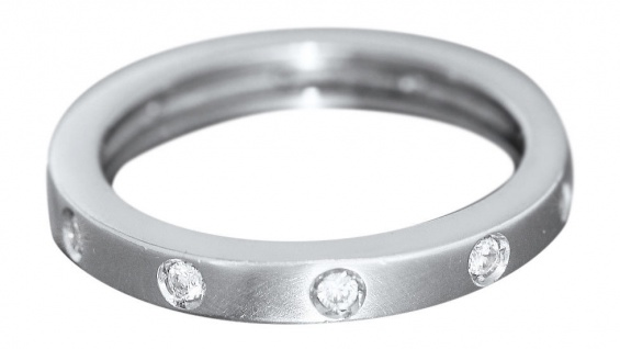 Memoryring Weißgold 585 mit Zirkonias massiver Ring Bandring 14 Kt. Damenring