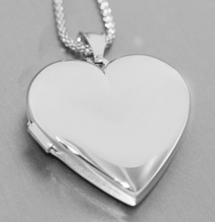 Herz Medaillon Silber 925 Anhänger 3 Größen mit od ohne Silberkette Himbeerkette