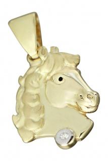 Massiver Pferdekopf Anhänger Gold 750 mit Brillant 0, 05 ct. Goldanhänger Pferd