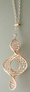 80 cm lange Silberkette 925 Rotgold Kette Silber u. Anhänger Spirale Halskette