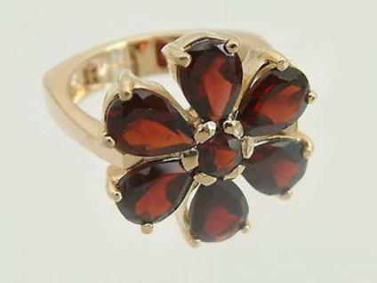 Granatblume - wunderschöner Ring Gold 585 mit echten Granaten - Goldring 14 kt