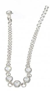 Armband Silber 925 Zirkonias Armkette Damen Armschmuck massiv 2-reihig Karabiner