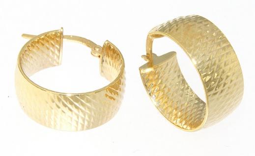 Breite Creolen Gold 585 / 14 Karat Ohrringe Ohrschmuck ca. 1, 9 cm Ø
