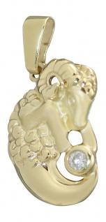Sternzeichen Widder Gold 750 Goldanhänger mit Zirkonia - Anhänger Gold 18 Kt