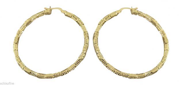 5 cm große Creolen Gold 585 Ohrringe - Goldcreolen mit Muster 14 Kt.