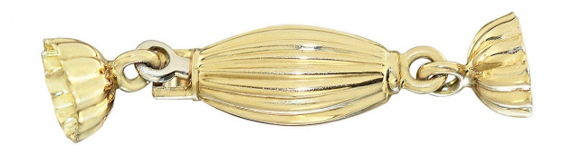 Verschluss Gold 750 / 18 Karat Ersatzteil Gelbgold mit Kalotten für Perlenkette