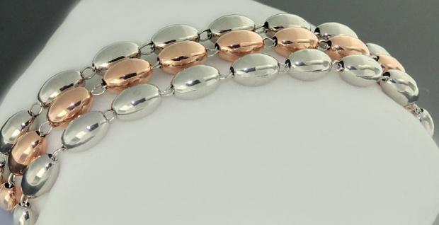 3-reihiges Silberarmband Rotgold - 19 cm Armband Silber 925 zweifärbig Armkette