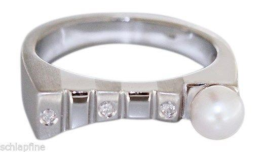 Weißgoldring 585 mit Perle und Brillant Ring Weißgold Perlenring Damenring 14 kt