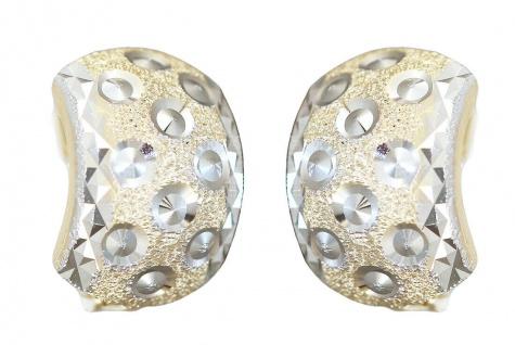 Breite Klappcreolen Gold 585 bicolor Ohrringe diamantiert Creolen Gold 14kt