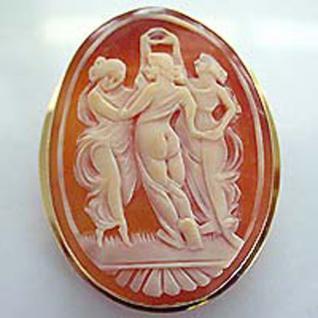 Anhänger oder Brosche 585 Muschelcamee mit Jungfrauen Goldanhänger Goldbrosche