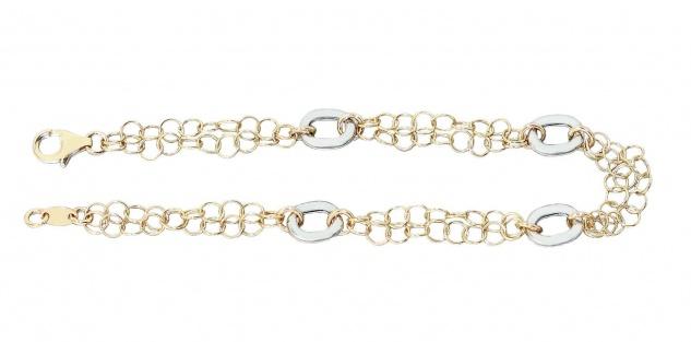 Hübsches Armband Gold 585 bicolor mit Karabiner Armkette 14 kt Damen Armschmuck