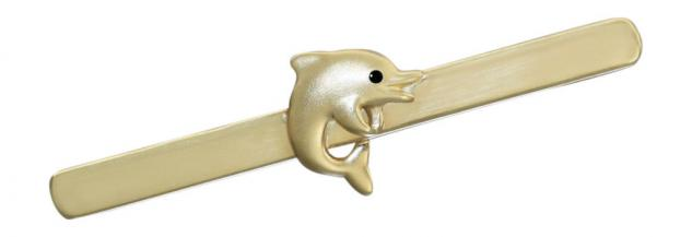 Reizende Brosche Gold 585 mit kleinem Delfin Goldbrosche - Golddelfin - Nadel