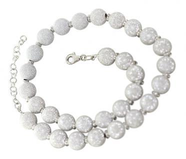 Große Kugelkette Silber 925 - Silberkette - Collier - Perlenkette diamantiert