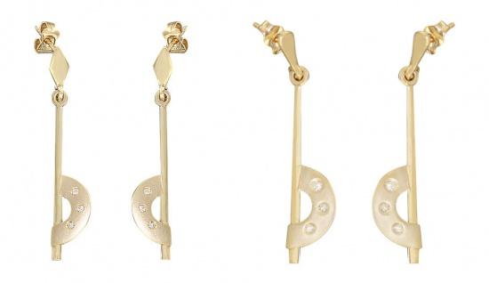 Designer Ohrhänger Gold 585 mit Brillanten Ohrstecker mit Brillant Ohrringe 14kt
