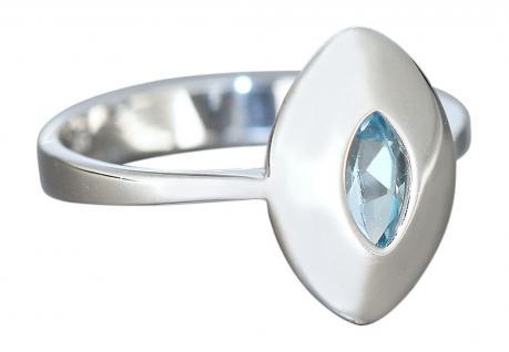 Moderner Ring Weißgold 585 mit Blautopaz Navette Goldring Weißgoldring mit Topas