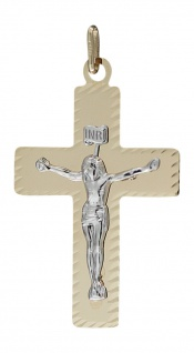 Großes Goldkreuz 585 Anhänger Kreuz m. Korpus Goldanhänger bicolor Kreuzanhänger