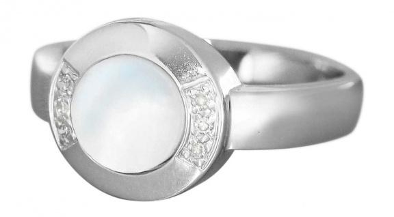 Eleganter Weißgoldring 585 mit Perlmutt und Diamanten Ring Weißgold 14 kt Gold