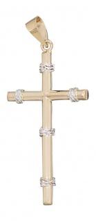 Goldkreuz 585 bicolor Kreuz Anhänger - Gelbgold Kreuz 14 kt - Goldanhänger Cross