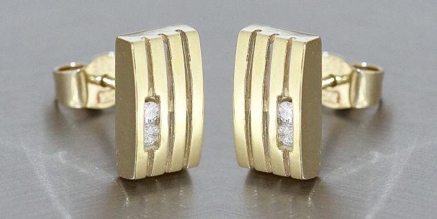 Ohrstecker Gold 585 mit Brillanten 0, 08 ct - Goldohrstecker Diamant Ohrringe - Vorschau 2