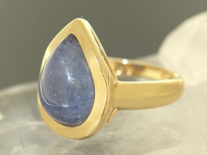 Edler Ring Gold 585 mit Tansanit Tropfen - Goldring - Damenring - Tansanitring