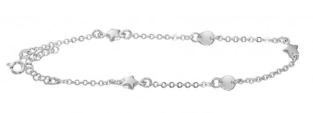 Fußkette Silber 925 massiv Stern runde Dekorglieder Fußkettchen Damen Sternchen