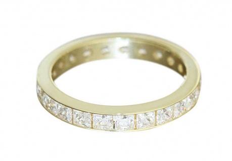 Ring Gold 585 Memoryring mit Zirkonia Carree - Goldring 14 kt - Damenring