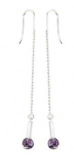 Lange Ohrhänger Silber 925 mit lila Kugeln Ohrringe 8 cm Kugelkette Ohrschmuck