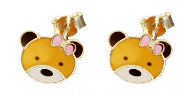 Teddy Ohrstecker Gold 585 Bären Ohrringe Kinder Ohrschmuck Teddybär bunt