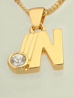 N - Schmuckset - Goldkette pl und Anhänger Buchstabe N mit Panzerkette Gold pl
