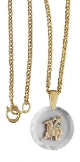 Anhänger Osterlamm auf Kristall mit Panzerkette Gold plated Kette vergoldet